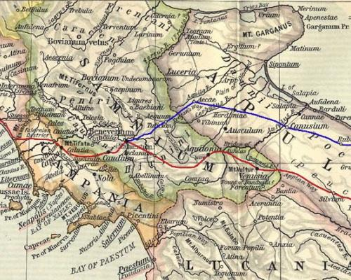 12. The route of the Via Appia Antica highlighted in red.