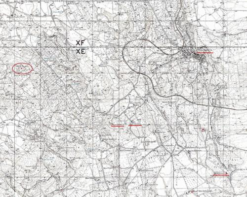 """2. A section of Italian Military Geographical Institute map F. 201 I NE showing part of the Castellaneta area: underlined in red are the urban areas of Castellaneta, Contrada Le Grotte, Masseria Varola (next to which """"Le Grotte"""" is situated), Masseria Pagliarone and, further south, Contrada Minerva."""